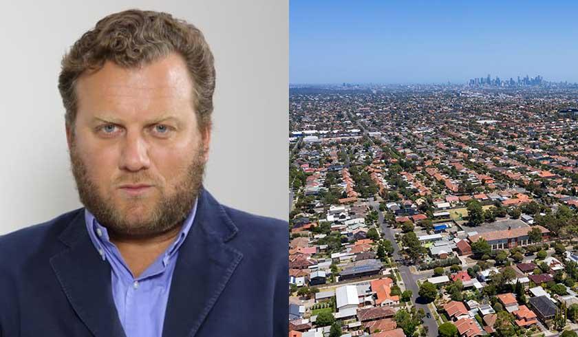 Christopher Joye and aerial shot of suburbs