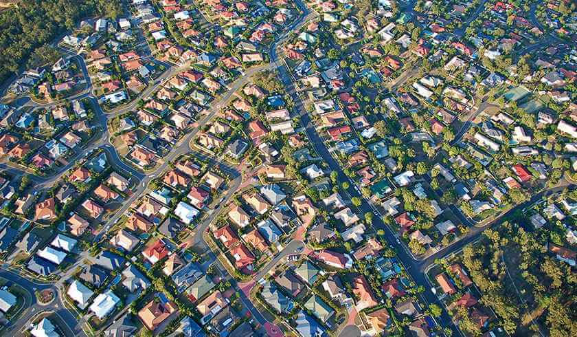 Aerial shot of properties