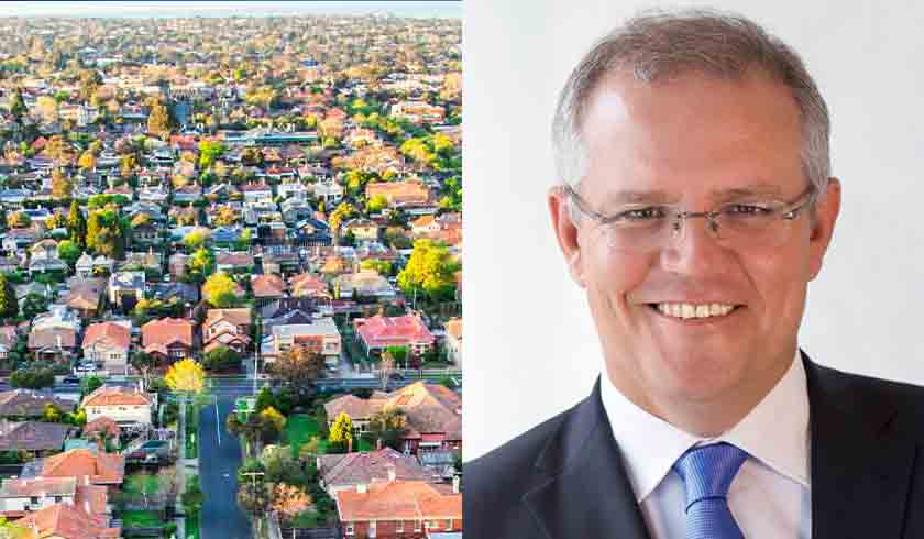 Aerial shot of property and Scott Morrison