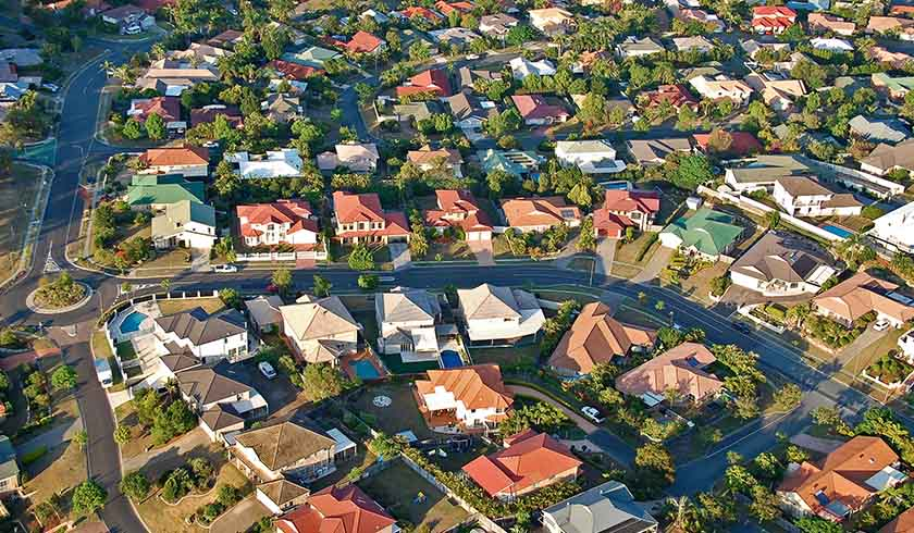 Aerial shot of suburbs