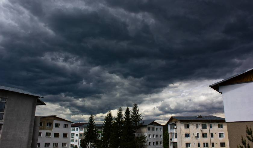 Apartment with dark clouds