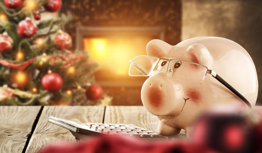 Christmas and piggy bank