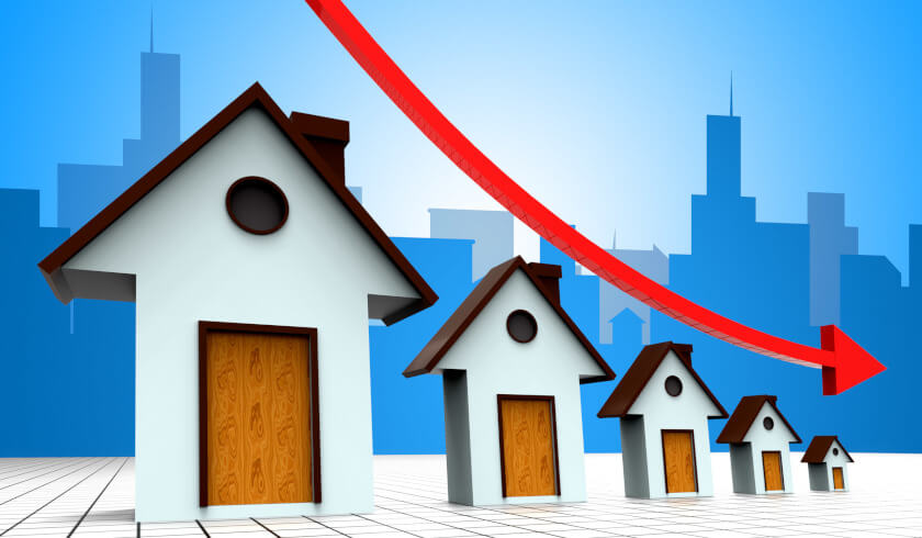 Property, decline, arrow down, value fall, property investment, property market