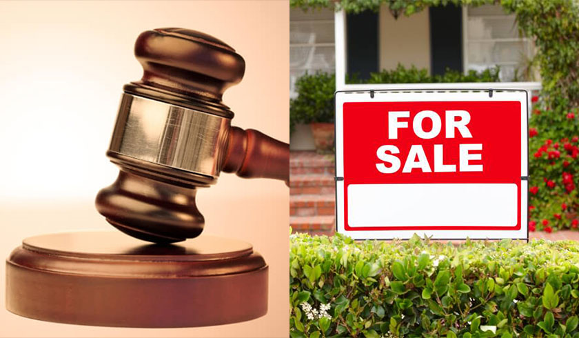 Gavel and for sale sign