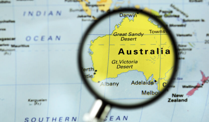 Magnifying glass map of AUstralia