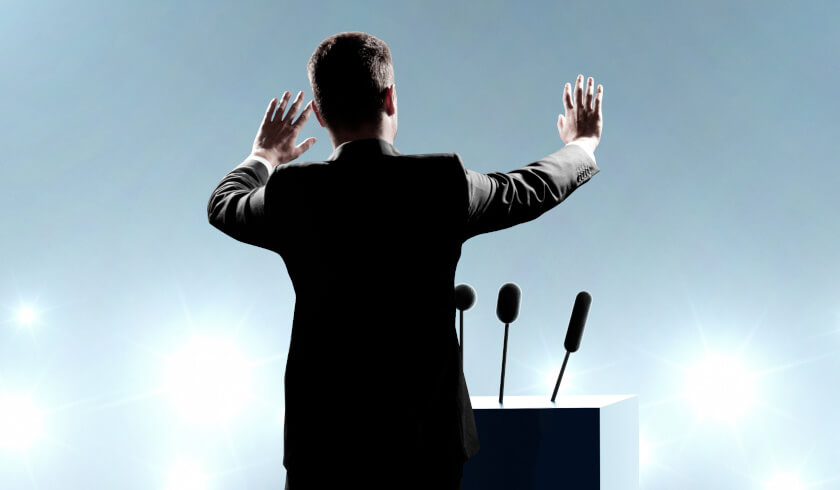 Man standing on podium