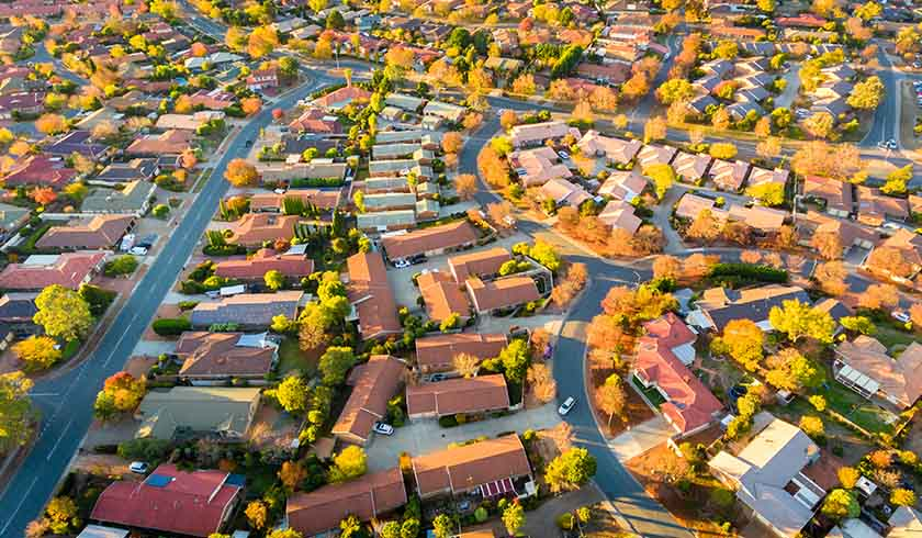 Aerial shot of Australian suburbs