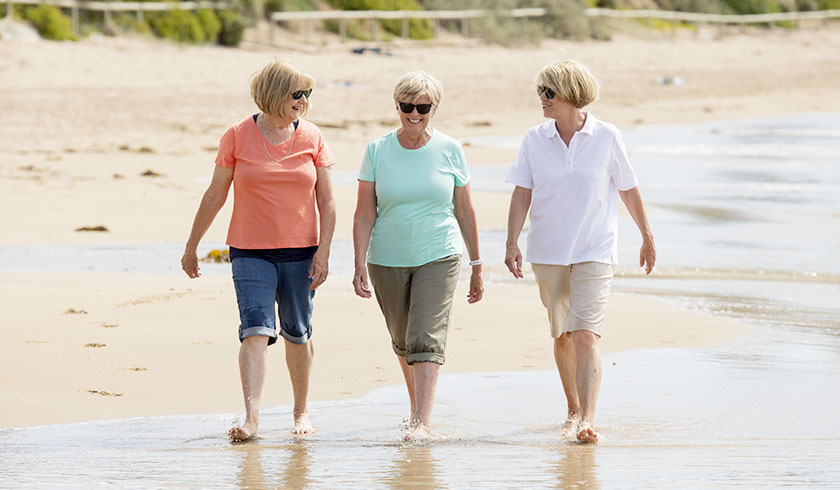 Retired people by the beach