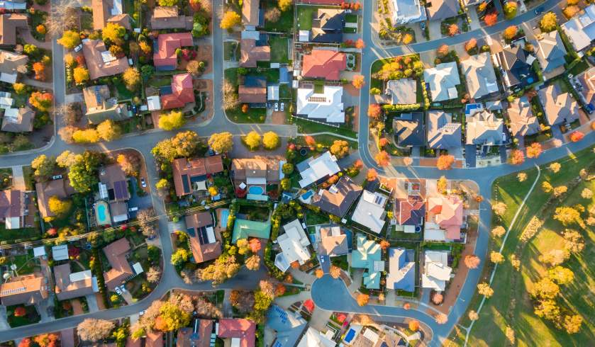 Aerial of suburbs