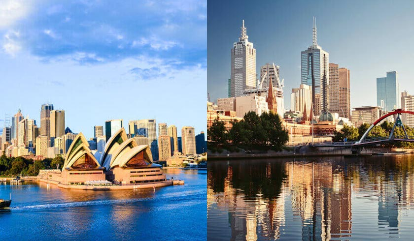 Sydney and Melbourne