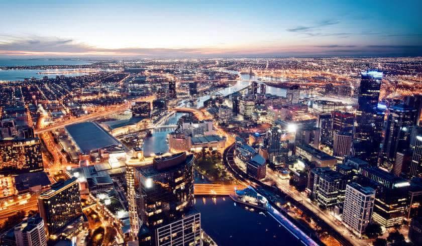 Melbourne Australia aerial shot